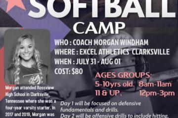 Softball Camp July 31 – August 1